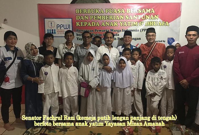 Senator Fachrul Razi Hadiri Acara Berbuka Puasa Bersama PPWI Dengan Anak Yatim