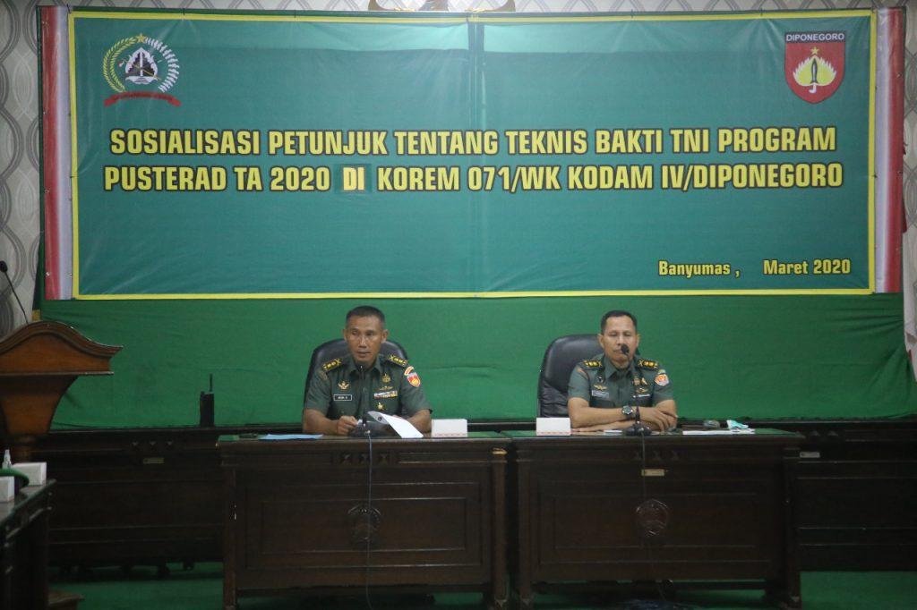 Tim Pusterad Mabes TNI AD, Kunjungi Korem 071/Wijayakusuma