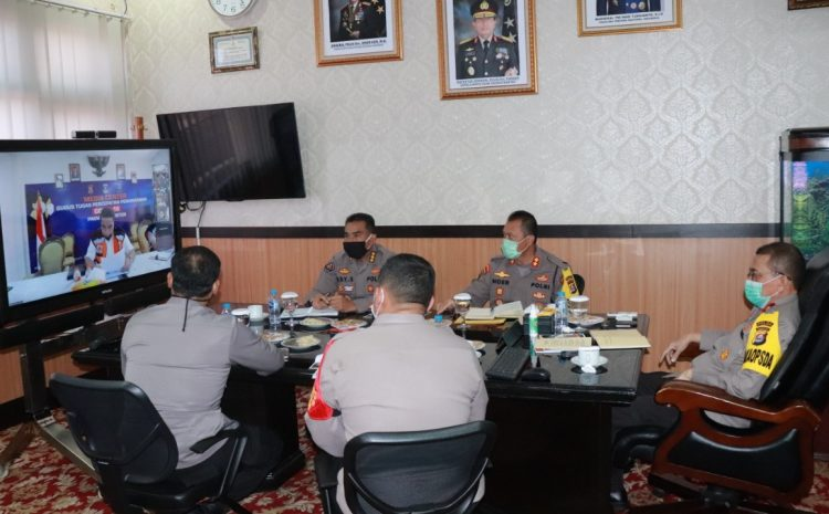 Wakapolda Dan PJU Polda Banten, Hadiri Vicon Evaluasi Penanganan Covid-19