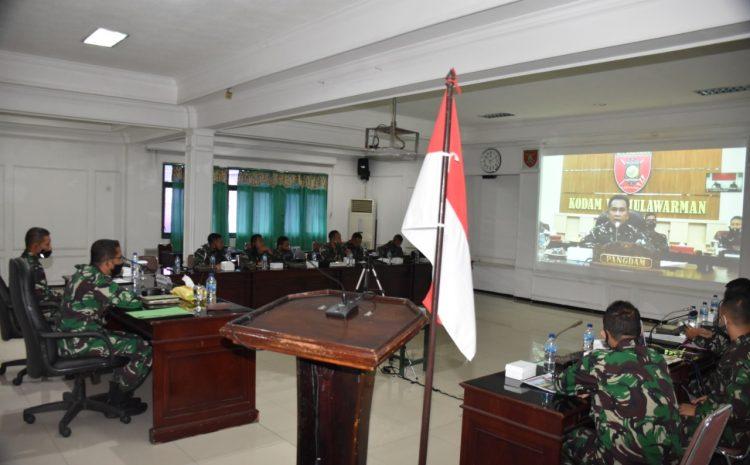 Danrem 091/ASN Video Conference Dengan Pangdam VI/Mulawarman, Cegah Penyebaran Covid-19