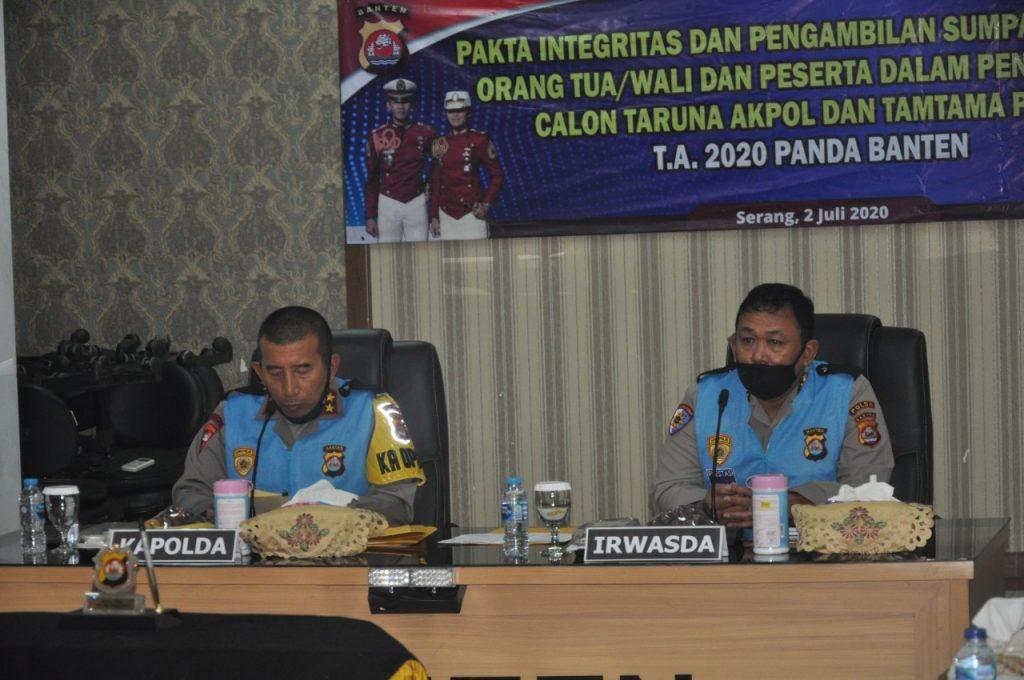 Kapolda Banten Pimpin Penandatanganan Pakta Integritas Penerimaan Taruna Akpol Dan Tamtama Polri TA. 2020