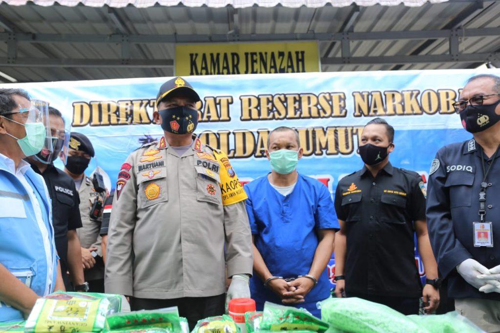 Kapolda Sumut Press Release Pengungkapan Kasus 100 Kg Sabu Dan 50 Ribu Butir Pil Ekstasi