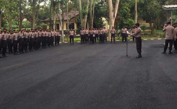 Ditsamapta Polda Banten Gelar Apel Sosialisasi SOP Covid-19 Di Masa AKB