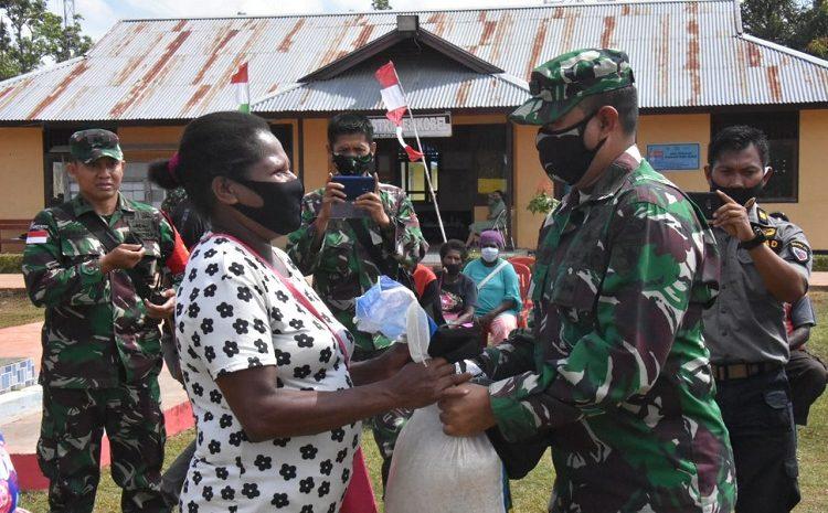 Korem 174 Merauke Gelar Bakti Sosial HUT TNI Ke-75 Dan Penanganan Covid-19