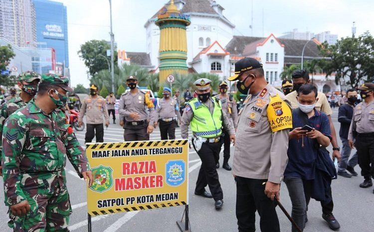 """""""Gelar Razia Operasi Yustisi"""" Kapolda Sumut Turun Langsung Tegur Masyarakat Tidak Pakai Masker"""