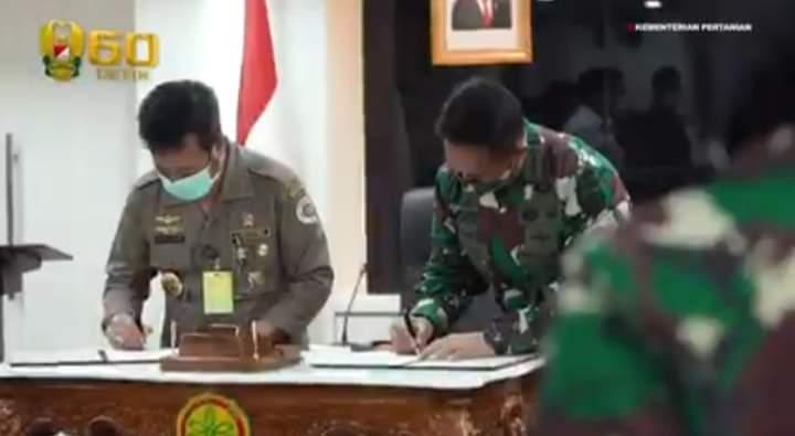 Penandatanganan Kerja Sama Antara TNI AD Dan Kementerian Pertanian