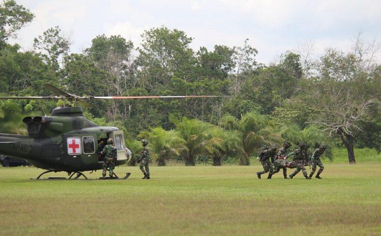 Tim Keslap Kostrad Gelar Latihan Evakuasi Udara Korban Tempur