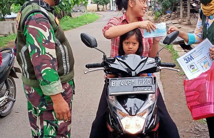 Koramil 01/Tambun Tertibkan Masyarakat Yang Tidak Memakai Masker