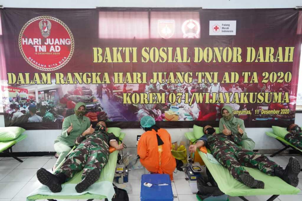 Jelang Hari Juang TNI AD TA 2020, Korem 071/Wijayakusuma Peduli Sesama Gelar Donor Darah