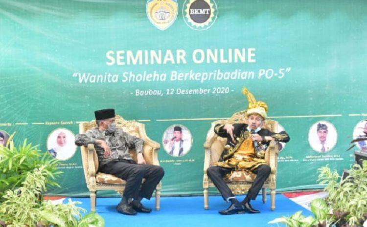 Walikota Baubau Buka Seminar Webiner BKMT Sholeha Berkarakter PO-5