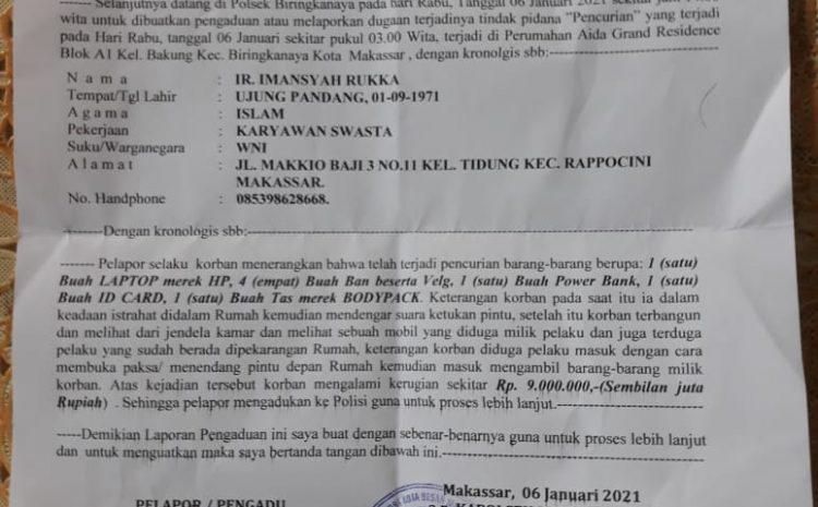 Rumah Wartawan Di Makassar Dibobol OTK, PPWI Desak Polisi Tangkap Pelakunya