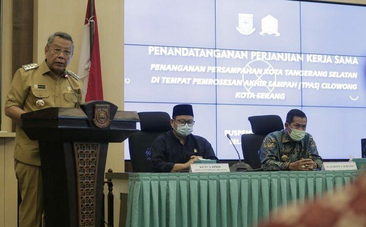 Pemkot Tangsel & Pemkot Serang Tandatangani Perjanjian Kerjasama TPA Cilowong