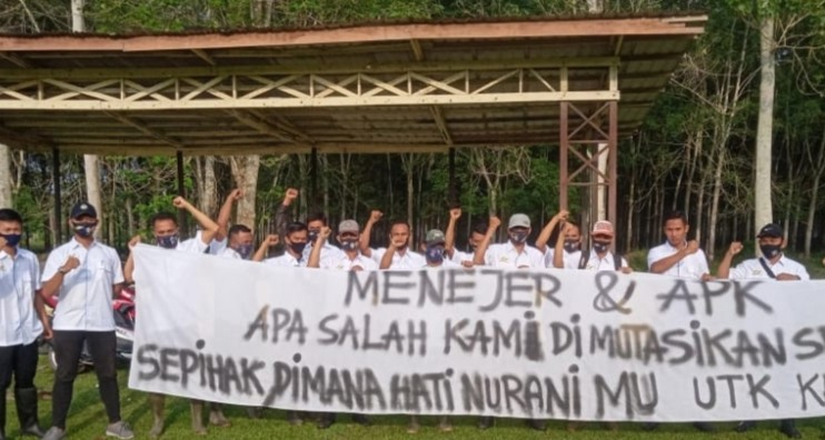 Puluhan Karyawan PTPN III Membang Muda Gelar Aksi Unjuk Rasa Tolak Mutasi Sepihak