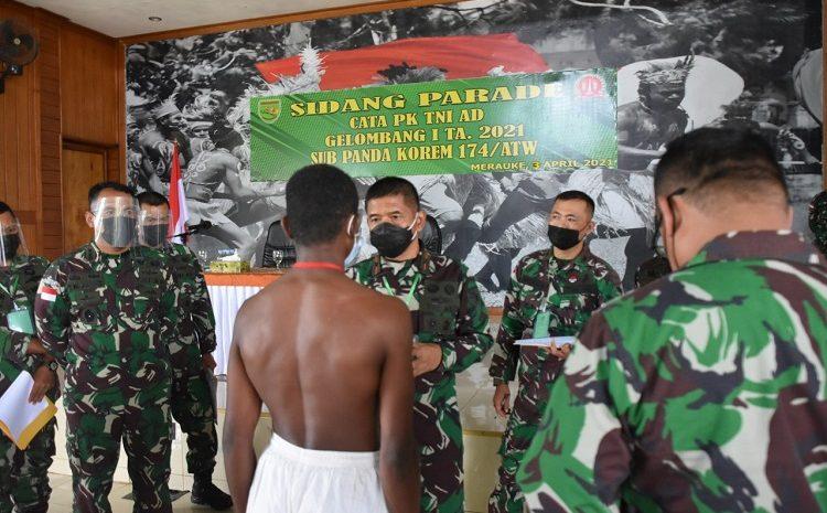 Danrem 174 Merauke Pimpin Sidang Parade Calon Tamtama Prajurit Karier TNI AD