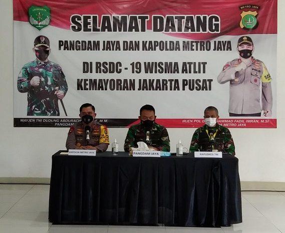 Pangdam Jaya, Kapolda Metro Jaya & Kapuskes TNI Kunjungi Pasien Covid-19 Di RSDC-19 Wisma Atlet-Kemayoran Gunakan APD Lengkap