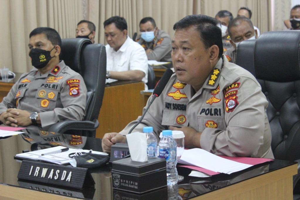 Melalui Zoom Meeting, Wakapolda Banten Pimpin Anev Mingguan