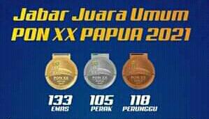 Jawa Barat Kembali Juara Umum PON XX Papua 2021, Atlet Bekasi Yang Terbanyak Menyumbangkan 87 Medali