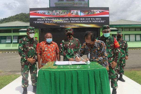 Tuntas Tepat Waktu, Program TMMD Ke-112Di Wilayah Kodam XVII/Cenderawasih Secara Resmi Ditutup